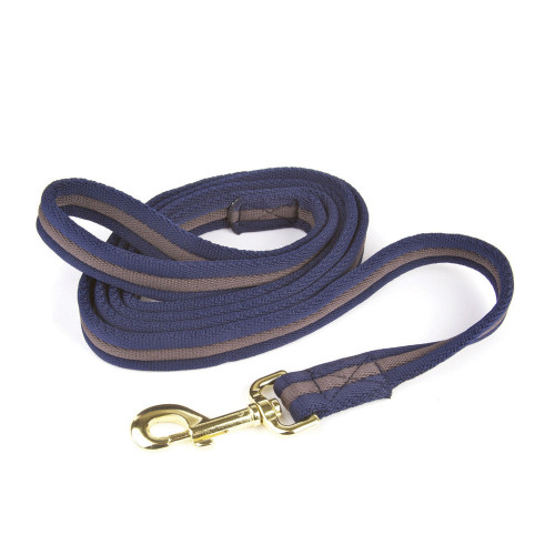 Hy Soft Webbing Lead Rein without Chain - Navy/Grey