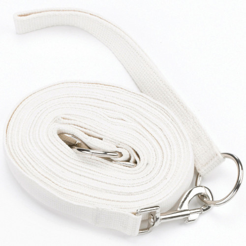 Hy Draw Reins with Clips - White - 13'