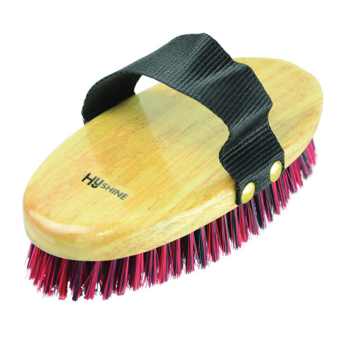 HySHINE Natural Wooden Body Brush in Navy/Red