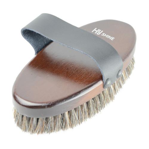 HySHINE Deluxe Horse Hair Wooden Body Brush in Dark Brown Large