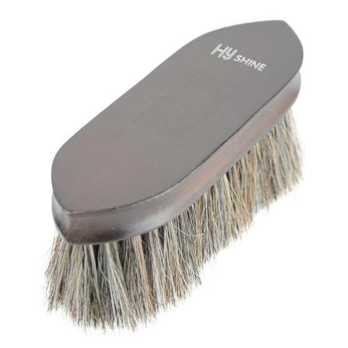 HySHINE Deluxe Horse Hair Wooden Dandy Brush in Dark Brown