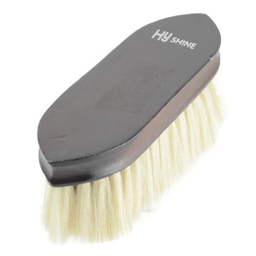 HySHINE Deluxe Goat Hair Wooden Dandy Brush in Dark Brown