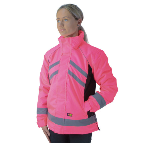 Front View HyVIZ Waterproof Riding Jacket in Pink/Black in X Small