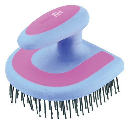 HySHINE Horseshoe Mane Brush in Blue/Pink