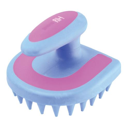 HySHINE Horseshoe Massage Brush in Blue/Pink