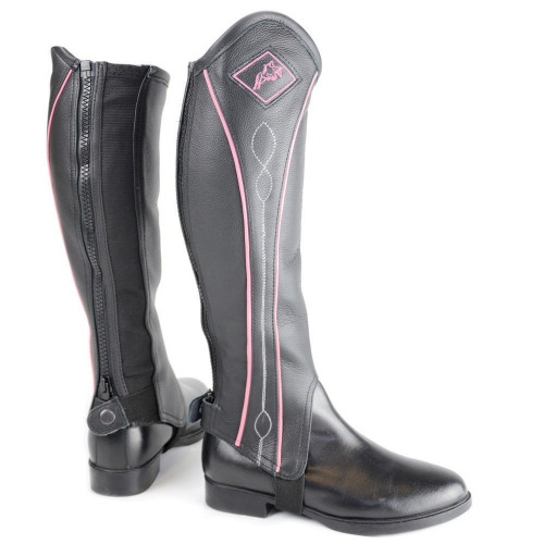 HyLAND Two Tone Leather Gaiters in Black/Pink size small close up
