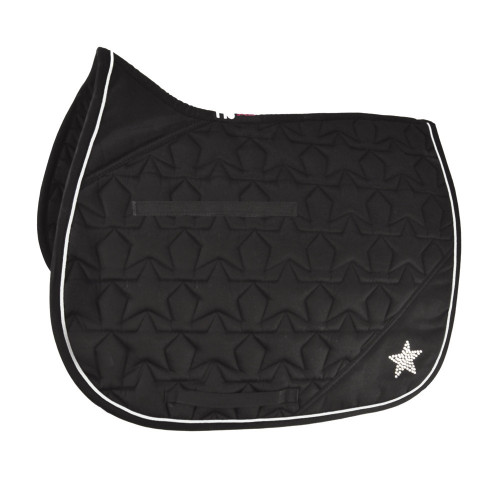 HySPEED Diamante All Purpose Saddle Cloth in Black/Silver Binding in pony