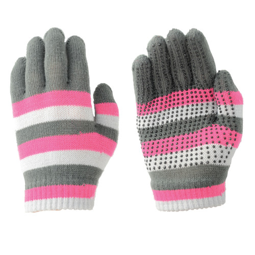 Hy5 Magic Striped Gloves in Pink/Grey