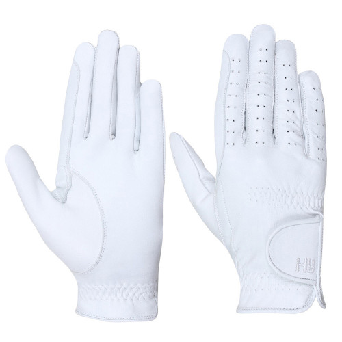 Hy5 Leather Riding Gloves in white in extra small