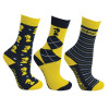 Lancelot Socks by Little Knight (Pack of 3) - Navy/Yellow/White - Child 8-12