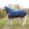 DefenceX System 0 Turnout Rug with Detachable Neck Cover - Navy/Purple - 5'6