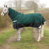 """DefenceX System 100 Turnout Rug with Detachable Neck Cover - Black/Green/Navy - 5'6"""""""