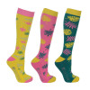 Hy Equestrian Tropical Vibes Socks (Pack 3) - Pink/Fern/Lime - Adult 4-8
