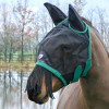Hy Equestrian Mesh Half Mask with Ears and Fringe - Black/Teal - Small Pony