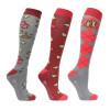 Hy Equestrian Country Walks Socks (Pack of 3) - Burgundy/Grey - Adult 4-8